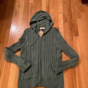 NWT Sonoma XL Hooded Zipper Cable Knit Sweater